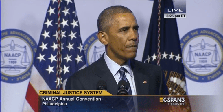 """President Barack Obama decries the """"overuse"""" of solitary confinement at the NAACP National Convention in July."""