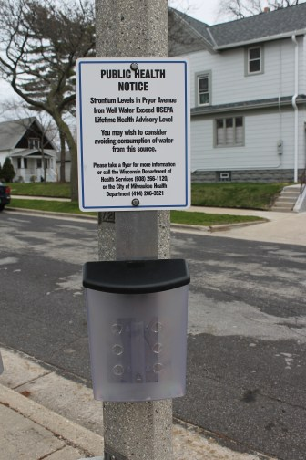 Milwaukee officials posted this warning about high strontium levels this spring on the popular public well where residents fill up drinking water jugs in the city's Bay View neighborhood. The U.S Environmental Protection Agency is considering regulation of this naturally occurring metal, which is found in some of the highest concentrations nationwide in southeast Wisconsin. Consumption of strontium can lead to bone and dental problems in children.