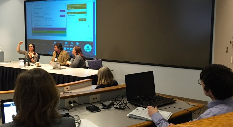 """""""Watchdog 101: Kickstarting your career as an investigative journalist,"""" will be led by the award-winning staff of the Wisconsin Center for Investigative Journalism. The free workshop is April 20 at The Madison Club. In this file photo, the Center's staff members present a panel at a 2015 investigative journalism workshop on the UW-Madison campus."""