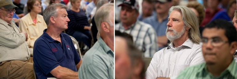 State Rep. Joel Kitchens, R-Sturgeon Bay, left, is seen at a meeting in Luxemburg, Wisconsin on June 23 where residents of the area discussed possible solutions to Kewaunee County's groundwater contamination. Lynn Utesch, right, also in attendance, is running against Kitchens for a spot in the state Assembly.