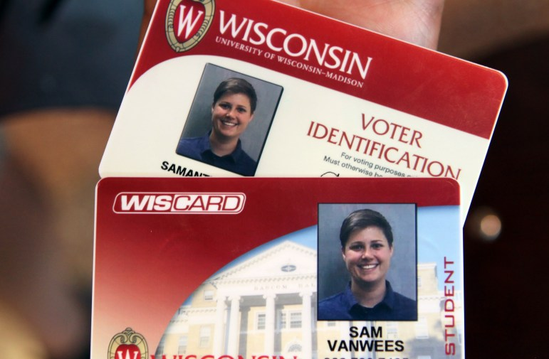 Sam VanWees from Des Plaines, Ill., says she was not aware she is eligible to vote in Wisconsin. She got her free voter ID card at Union South on the University of Wisconsin-Madison campus, along with her regular Wiscard student ID, on Aug. 30.