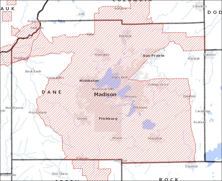 Much of Dane County, lies within an atrazine prohibition area. Wisconsin began setting up these zones 25 years ago when high levels of the herbicide began showing up in drinking water.