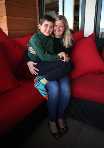 Jack was diagnosed with Type 1 diabetes at the age of 4, and requires copious amounts of medical supplies, including an insulin pump, insulin and related monitoring and testing equipment. He is seen here with his mother, Jess Franz-Christensen.