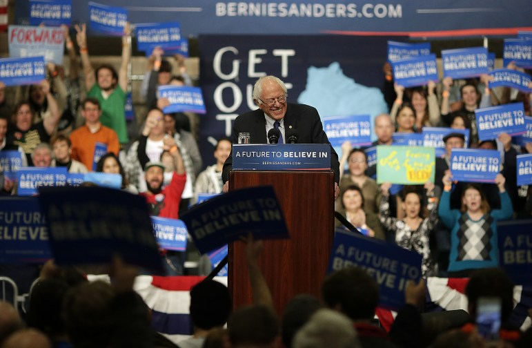 Democratic presidential candidate Bernie Sanders speaks during a campaign rally at the KI Convention Center in downtown Green Bay, Wis. on April 4, 2016. Sanders is among the candidates whose campaigns owe communities in Wisconsin thousands of dollars for police protection in 2016, according to an investigation by the Center for Public Integrity.