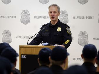 Milwaukee Police Chief Edward Flynn reminds recruits of the high calling to be a police officer at a swearing-in ceremony for recruits in December.