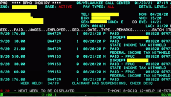 Image of a computer screen displaying decades old technology, with a black background and rows of bright blue text. Yellow boxes redact personal information.