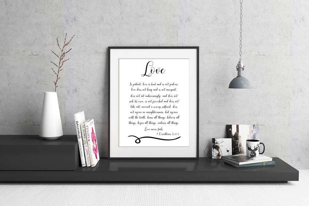 1 Corinthians 134 8 Love Is Patient Scripture Blackwhite 8 X 10
