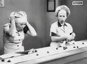 Lucy and Ethel at chocolate factory
