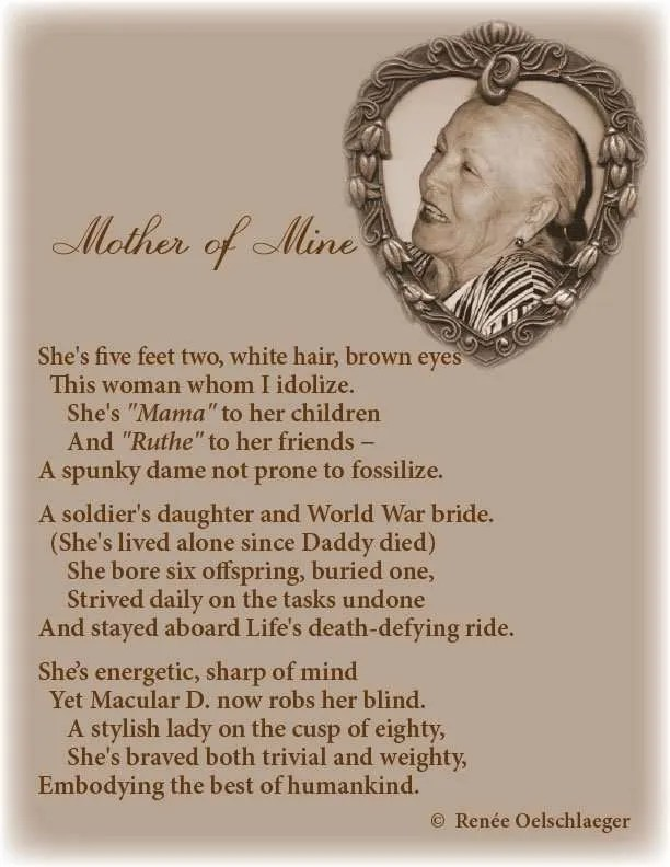 Mother-Of-Mine, Ruthe, mama, spunky dame, poetry, light verse, poem