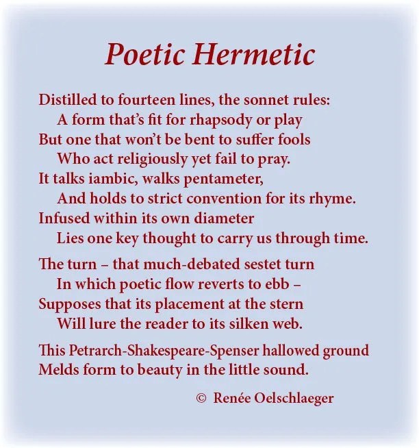 Poetic-Hermetic, sonnet, poesy, sonnet form, iambic pentameter, sestet, Petrarch, Shakespeare, Spenser, little sound, poem