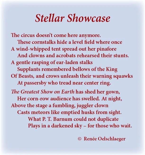 Stellar-Showcase, circus, p.t. barnum, stars, corn fields, greatest show on earth, clowns, acrobats, sonnet, poetry, poem