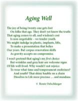 Aging-Well, aging, youth, twenty-one, 21, wrinkles, implants, sonnet, poetry, poem