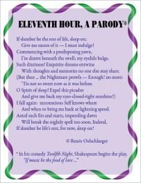 Eleventh-Hour, parody, eleventh hour, dreams, nightmare, Twelfth Night, slumber, rest of life, sleep, sonnet, poetry, poem