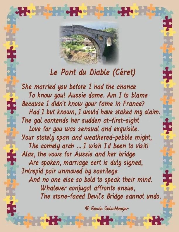 Le-Pont-du-Diable, marriage, french bridge, le pont du diable, devil's bridge, france, sonnet, poetry, poem