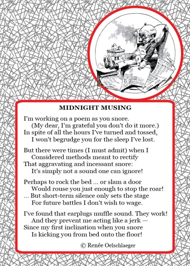 Midnite-Musing, snore, snoring, solutions for snoring, earplugs, bedtime, light verse, poetry, poem