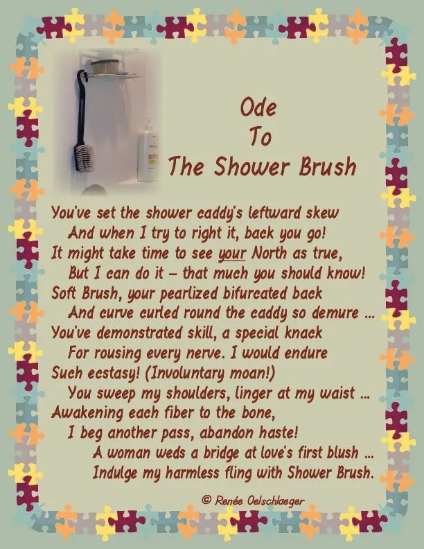 ode, wedding a bridge, shower caddy, marriage, shower brush, light verse, sonnet, poetry, poem