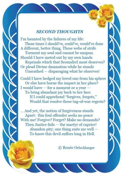Second-Thoughts, failures, forgives, forgets, regrets, justice, second thoughts, forgiveness, sonnet, poetry, poem