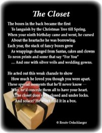 The-Closet, Christmas gifts, regrets, father's love, dysfunction, sonnet, poetry, poem
