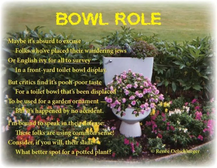 Bowl-Role, front yard toilet, potted plant, poetry, light verse, poem
