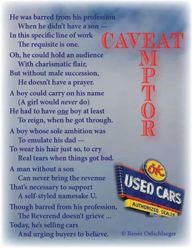 Caveat-Emptor, car salesman, preacher, selling cars, reverend, poetry, light verse, poem