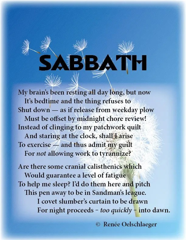 Sabbath, rest, insomnia, fatigue, light verse, sonnet, poetry, poem
