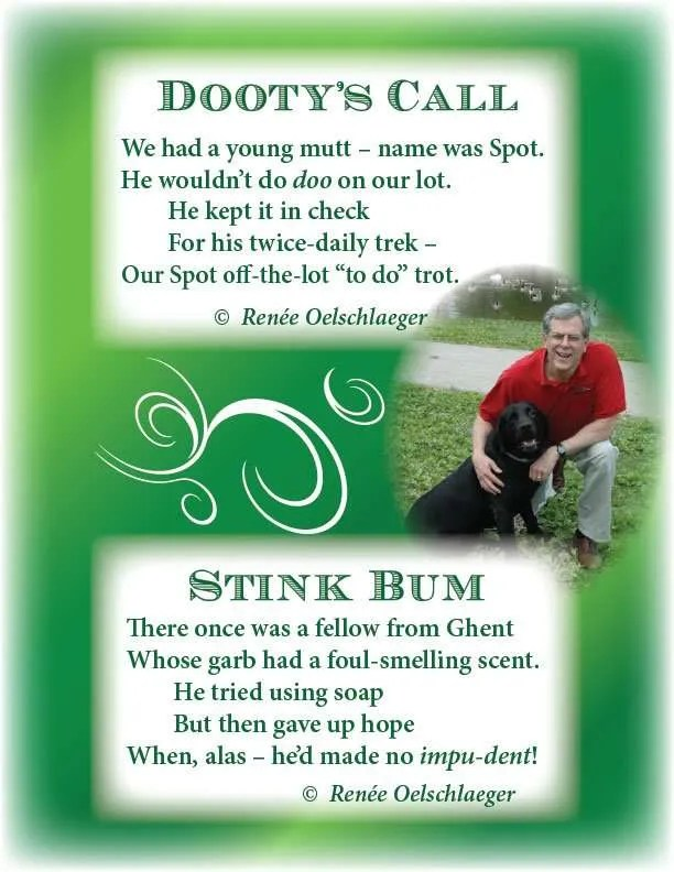 Dooty-Stink, limerick, Ghent, dog, Spot, light verse, poetry, poem