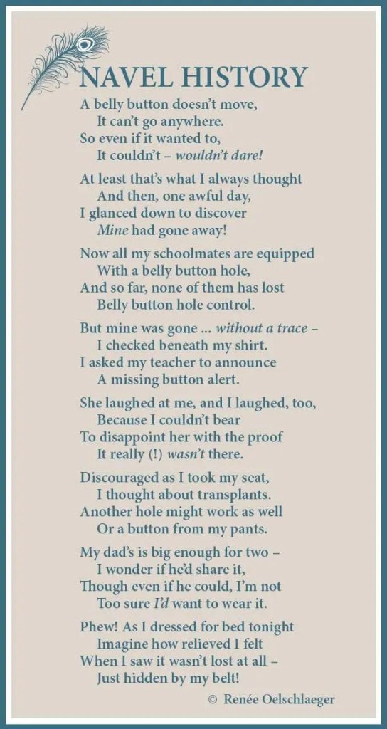 belly button, light verse, poetry, poem