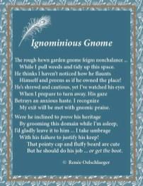 Ignominious-Gnome, garden gnome, gardening, sonnet, poetry, poem, light verse