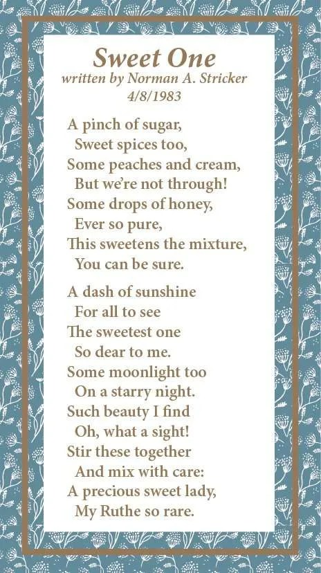 Poem by Norman A Stricker