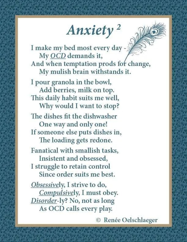 Anxiety, OCD, obsession, compulsion, disorder, poetry, poem, whimsy