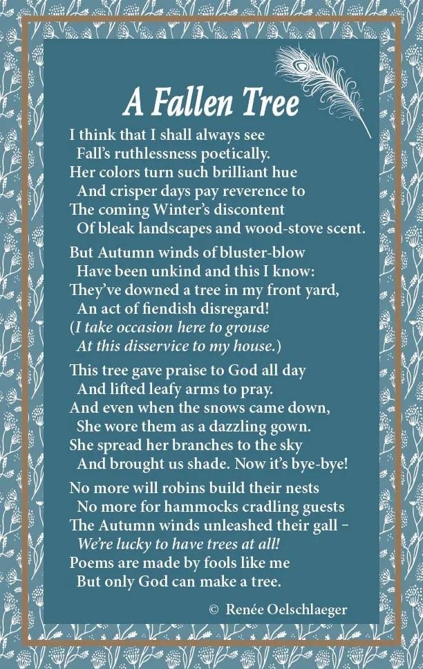 A Fallen Tree, Trees, Joyce Kilmer, poetry, verse, poem