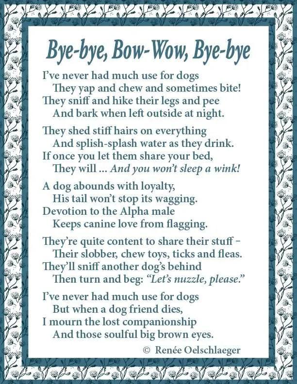 Bye-Bye, Bow-Wow, Bye-Bye, poem, verse, poetry, dogs