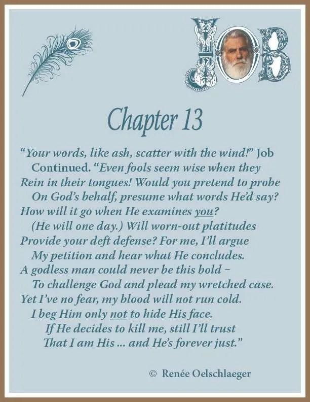 Job Chapter 13, sonnet, poem, poet