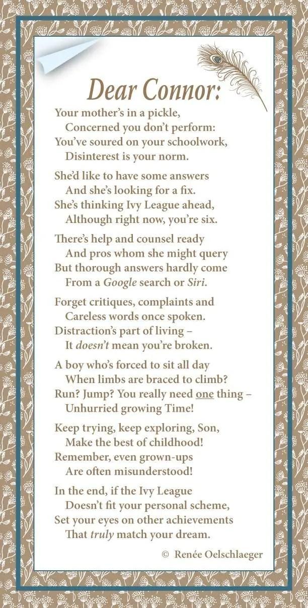 Dear Connor, verse, poem, poetry