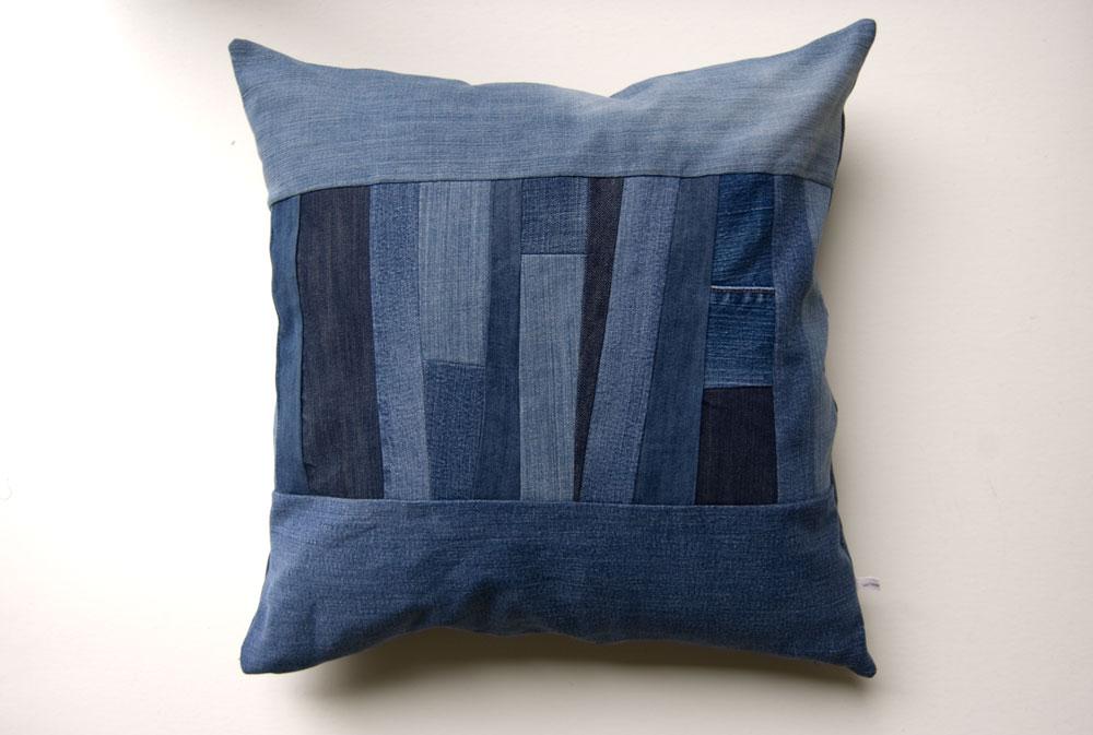 Denim Strips Pillow by Wise Craft Handmade
