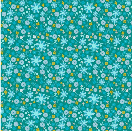 Scattered Flower on Dark Blue by Wise Craft Handmade