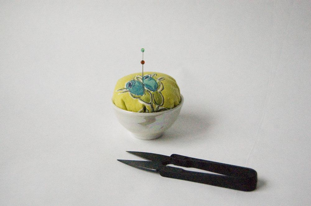 Sake cup pincushion