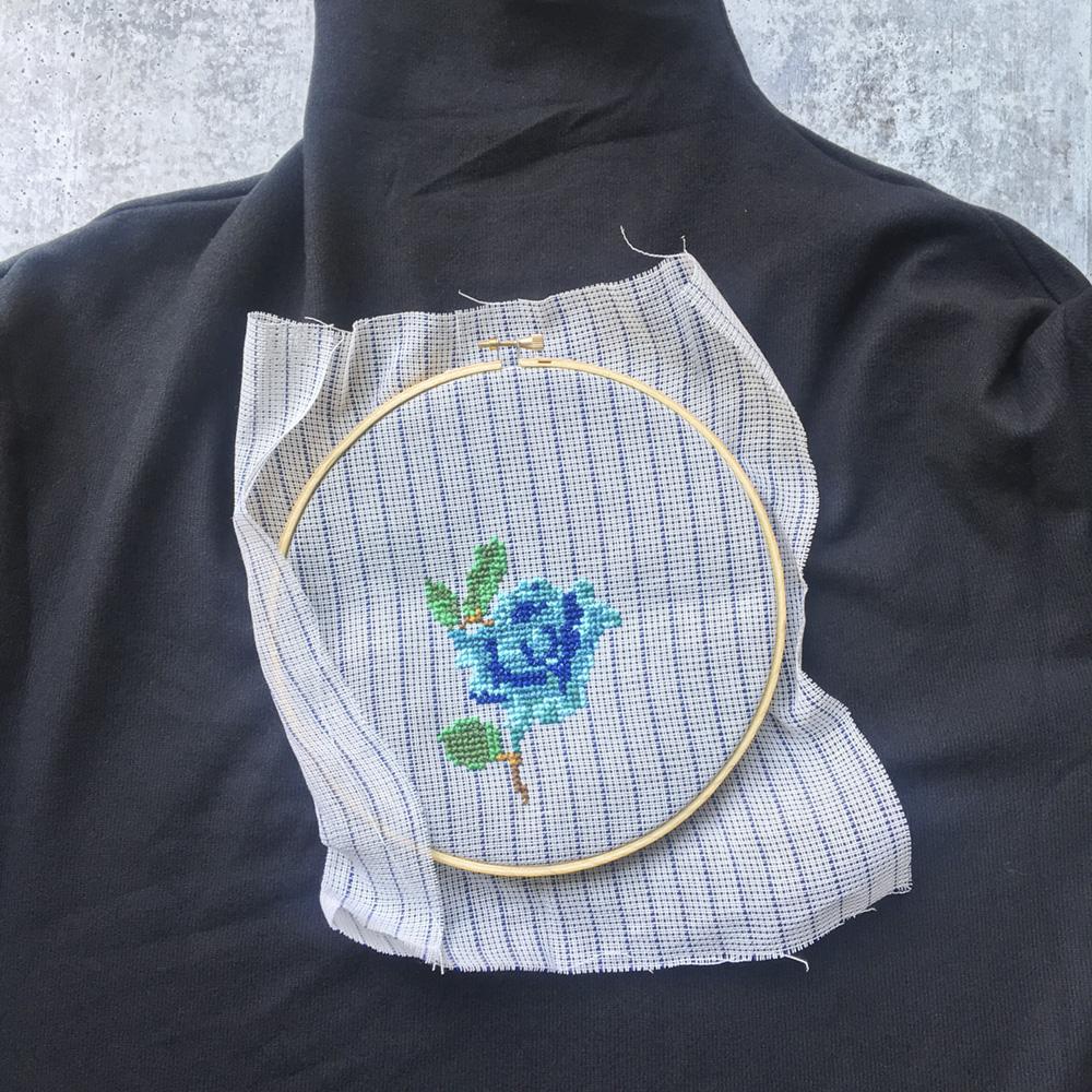 DIY Cross Stitch Flower progress