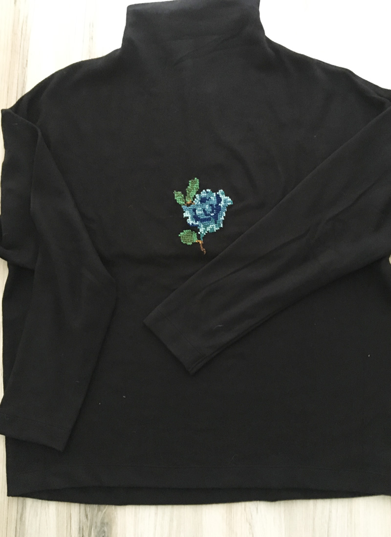 DIY Cross Stitch Flower finished