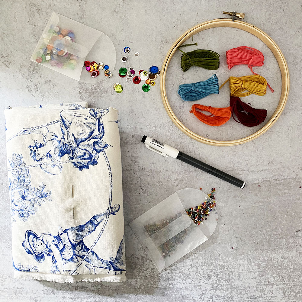 Tagged Toile DIY Embroidered Pillow kit