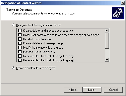 Delegation Of Control Wizard - Tasks to Delegate Step