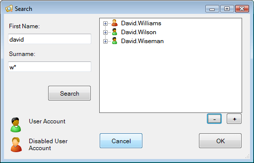 Password Control - Search for user (minimized)