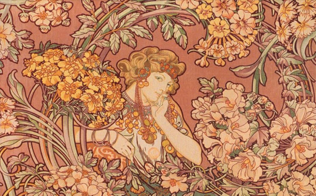 AEAS阅读配图 - alphonse-mucha-redhead-among-flowers-art-nouveau-artwork