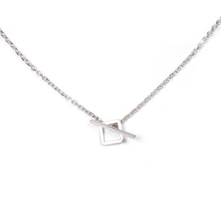 Quartz and pyrite in silver geometric necklace clasp
