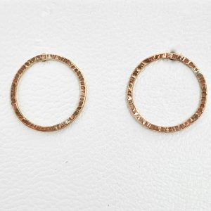 9 carat rose gold circle earrings handmade for sale