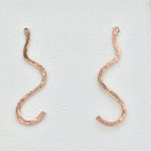 Handmade 9 carat rose gold swirl earrings for sale