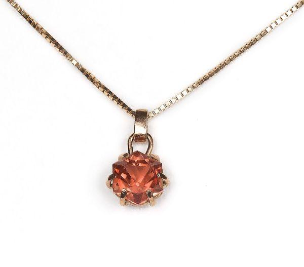 hand cut hexagonal sunstone pendant set in 9ct rose gold for sale