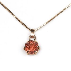 hand cut hexagonal sunstone pendant set in 9ct rose gold for sale