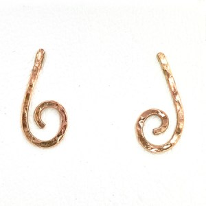 Rose gold spiral earrings front view