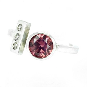 Dusky pink zircon and diamond ring front view
